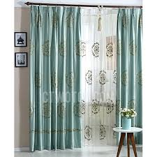 luxury embroidered floral pattern teal faux silk living room curtain
