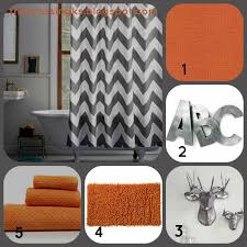 Yellow And Gray Chevron Bathroom Set by The Crossing Master Bathroom Inspiration Orange Shower Curtain
