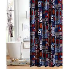 Walmart Bathroom Window Curtains by Mainstays Kids Sports Patch Shower Curtain Walmart Com