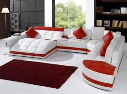 Furniture Modern Red Accent White Leather Sectional Sofa With