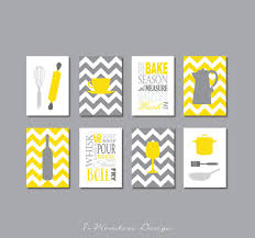 Fabulous Modern Kitchen Art Print Set In Yellow And Shades Of Gray