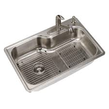 Overmount Double Kitchen Sink by Elkay Signature Drop In Stainless Steel 33 In 4 Hole Single Bowl