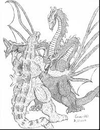 Fantastic Godzilla Vs King Ghidorah Drawings With Coloring Pages And Free To
