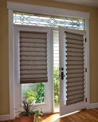 Sliding Door With Blinds In The Glass by Roman Shade On French Door With Stained Glass French Doors