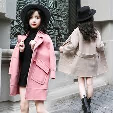 Girls Long Winter Coat Kids Outerwear Jacket Children Trench Teenage Woolen Coats For Clothes