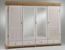 details zu massivholz kleiderschrank 4türig kiefer weiß antik spiegel schrank landhausstil
