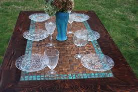 kitchen table copper table rustic dining table mosaic