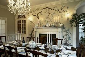 Formal Dining Room Home Bohemian Classic Dark Wood Set In A With Fireplace And Flower Murals