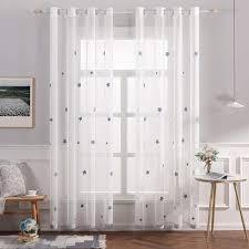sheer vorhang voile sterne stickerei vorhänge mit ösen transparent gardine 2 stücke ösenvorhang schals fensterschal für kinderzimmer wohnzimmer