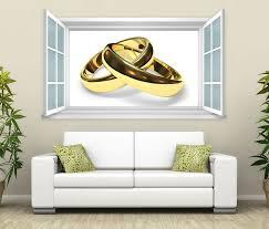 3d wandtattoo fenster gold ringe hochzeit wand aufkleber wanddurchbruch wandbild wohnzimmer 11bd385 wandtattoos und leinwandbilder günstig