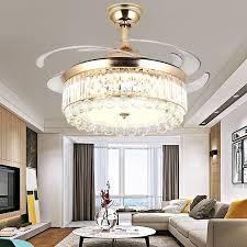 moderne luxus unsichtbare led kristall decke fan