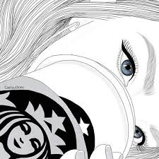 Girl Outline And Starbucks Image