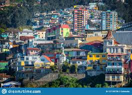 100 Houses In Chile Colorful On A Hill Of Valparaiso Stock Photo Image Of