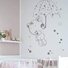 autocollant chambre fille stickers nounours et parapluie
