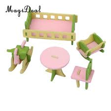 MagiDeal 1Set Dollhouse Furniture Wooden Chair Table Rocking Horse ...