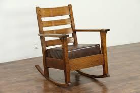 Arts & Crafts Mission Oak Antique Rocker Craftsman Rocking Chair, Limbert  #28671