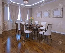 esszimmer in modernem stil closet vorhänge neonlichter cremefarbenen wänden brown tisch und weißen stühlen tageslicht 3d übertragen