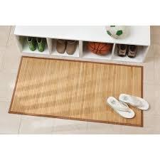 kleiner duschvorleger aus bambus küche und flur hellbraun
