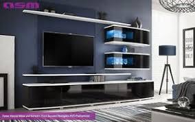 details zu wohnwand anbauwand wohnzimmer schrankwand sonic hochglanz pvc led push click