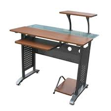 Glass And Metal Computer Desk With Drawers by Slim Computer Desk Glass Computer Tables For Home Double Computer