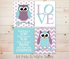 Nursery Prints Purple Aqua Girl Wall Art Owl Nursery Art