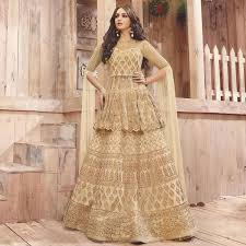 Buy Gorgeous GoldenCream Coloured Designer Lehenga Cum Sharara