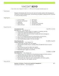 Examples Resume For Housekeeping Job Housekeeper Hotel