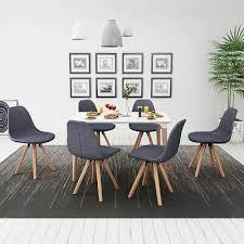 vidaxl 7 tlg essgruppe sitzgruppe esszimmer tisch stühle weiß und dunkelgrau