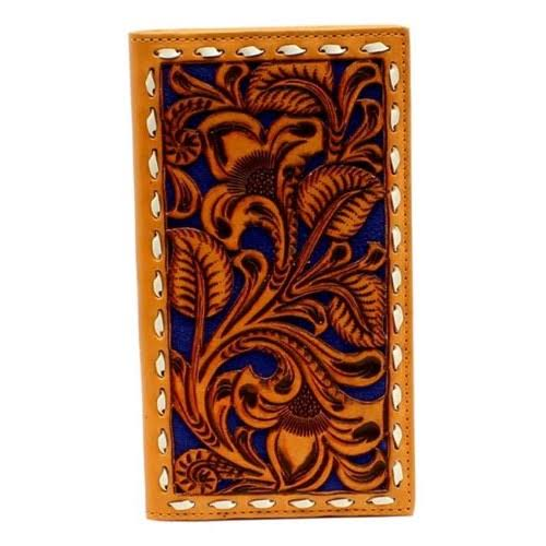 Nocona Men's Western Rodeo Embossed Lacing Wallet - Tan and Blue