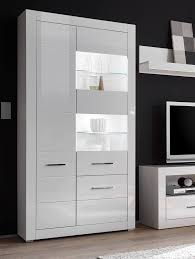 vitrine standvitrine glasvitrine bianco 100cm weiß hochglanz led neu