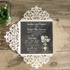Rustic Wedding Invitations Ivory Laser Cut Chalkboard Mason Jar