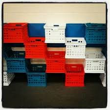 Crates Zip Tied Together For Cubbies