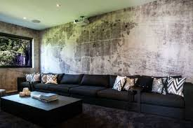 wanddesign ideen wohnzimmer trends beton raue optik