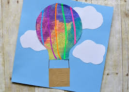 Cut A Hot Air Balloon Basket Out Of Your Brown Paper Lunch Bag And Glue It Under Use Marker To Connect The