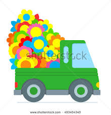 Cute Green Cartoon Truck Making A Flower Delivery With The Back Piled High Colorful Summer