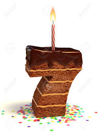 number seven shaped chocolate birthday cake with lit candle and confetti Stock