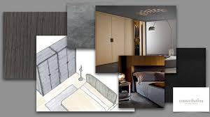 collage mit skizzen für ein schlafzimmer mit männlicher