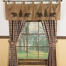 Bear Trees Wildlife Window Curtains For Cabins