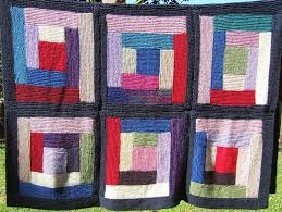 aussie knitting threads Log Cabin knitted blanket finished