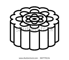 Mooncake or moon cake for the Mid Autumn Festival line art vector icon for food