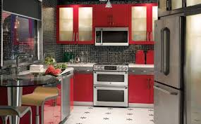 Red Black Kitchen Decor Innovation Wooden Bookcase Interior Island Table Modern With Lighting Fixtures White Tile Floor Rustic
