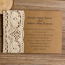Vintage Lace Kraft Paper Wedding Invites Ewls004 As Low 179 Invitations