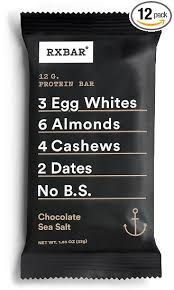 RXBAR Whole Food Protein Bar Chocolate Sea Salt 183 Ounce Pack Of 12