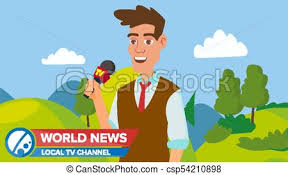 Journalist Man On Air News Reporter Performing Concept Vector Male With Microphone Video Camera