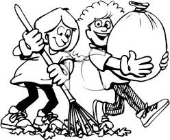 Black and White Cartoon of Friends Helping Each Other Rake Leaves Royalty Free Clip Art Illustration