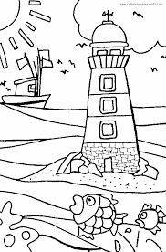Lighthouse And A Boat On Sea Color Page More Free Printable Holiday Season Coloring