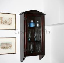massivholz hängevitrine kolonial lackiert glasvitrine schwarzbraun sammlervitrine hängeschrank schmal