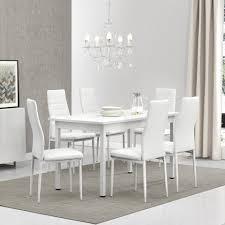 en casa essgruppe set 7 tlg esstisch mit 6 stühlen stavanger 140x60cm küchentisch kunstleder stühle weiß kaufen otto