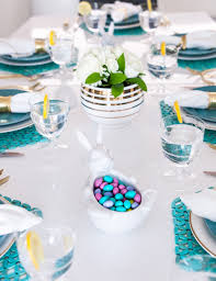 Turquoise And White Easter Lunch Table Setting Easter At Pottery Barn Kids Momtrends Easy Diy Inspired Rabbit Setting For Four Entertaing Made 1 Haing Basket Egg Tree All Sparkled Up Tablcapes Table Settings With Wisteria And Bunny Palm Beach Lately Brunch My Splendid Living Toscana Designs