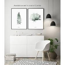 aquarell farn blatt kunstdruck wohnzimmer poster moderner